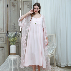 Image 5 - Lace Robe & Gown Set Women Long Nightgowns Vintage Sleepwear Elegant Loose Robe Set European Classical Robes Pretty Ladies Gift