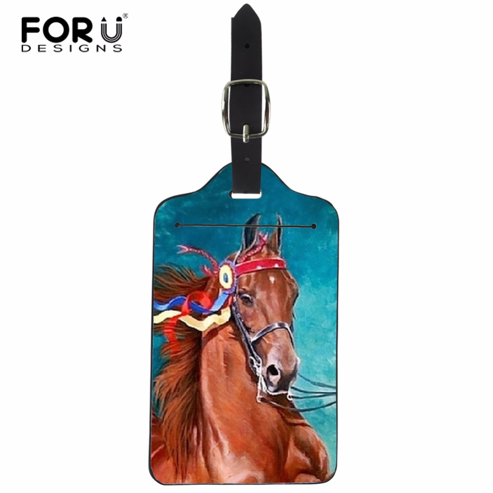 FORUDESIGNS Horse Luggage Tag Portable PU Leather Suitcase Baggage Boarding Tag Address Label Name Travel Tag Travel Accessories