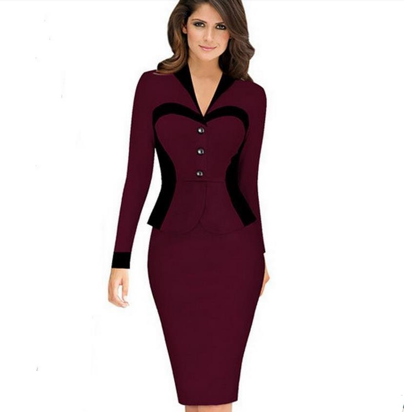 Women Elegant Career Optical Illusion Contrast Faux Twinset Wear to Work Office Business Casual Fitted Sheath Dress OL dresses