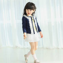 hot sale autumn spring New Baby Toddler kids Girls clothes Fur Fleece lace Cardigan Jacket Coat Knit Sweater Outwear Clothes(China)
