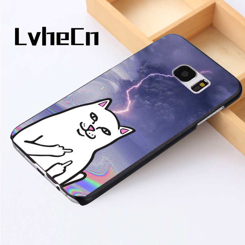LvheCn phone case cover For Samsung Galaxy S3 S4 S5 mini S6 S7 S8 edge plus Note2 3 4 5 7 8 Cat Funny Swearing Joke Kitten