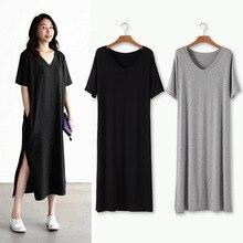 2019 Summer New Dress Women modal long short sleeve loose split v neck pocket fat mm large size slim sweater dress