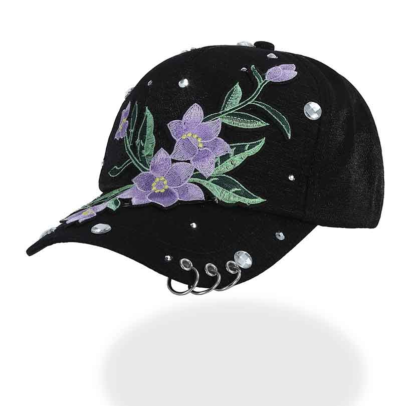 embroidery Purple Flower baseball cap women Ring cap black cap with dad hat  Snapback Hats for Headdress 9bba29e62f7