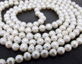 7-8mm White Freshwater Cultured Pearl Necklace Pearl Jewelry Rope Chain Necklace Pearl Bead Natural Stone 45inch(Minimum Order1)