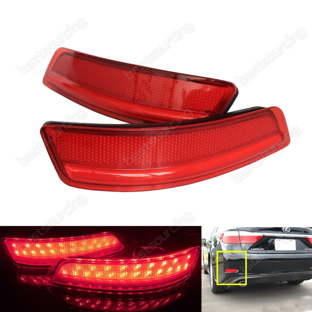 LED Red Lens Rear Bumper Reflector Tail Brake Stop Light For Lexus ES GS 2013+ For Toyota Corolla  clear smoke red lens motorcycle red led brake stop rear fender tip tail light indicator lamp for harley breakout fxsb 2013 2016