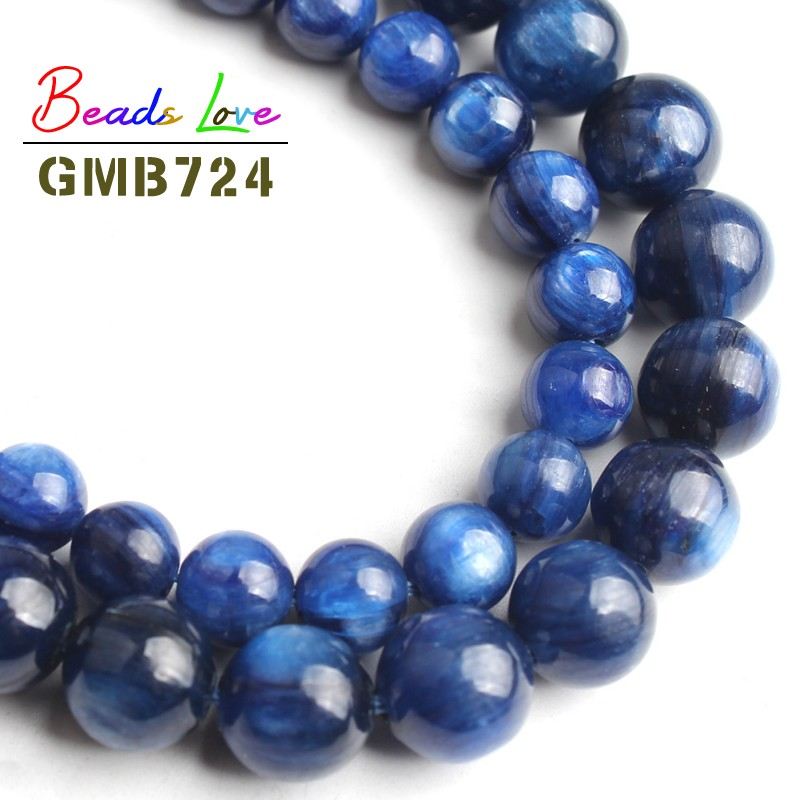 Natural AA Kyanite Beads For Jewelry Making Blue Round Stone Bead DIY Fashion Bracelet Necklace Size