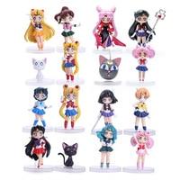 4pcs/lot 16 Styles Sailor Moon Figures Tsukino Usagi Sailor Mars Jupiter Saturn Mercury Venus Anime PVC Model Dolls 7CM