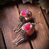 HOT New Original Ethnic Pure Handmade Miao Silver Old Embroidered Drop Earrings Vintage Circular Tassel Women