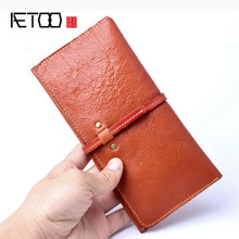 AETOO  Womens handmade wallet real leather female retro long section thin 2018 new women