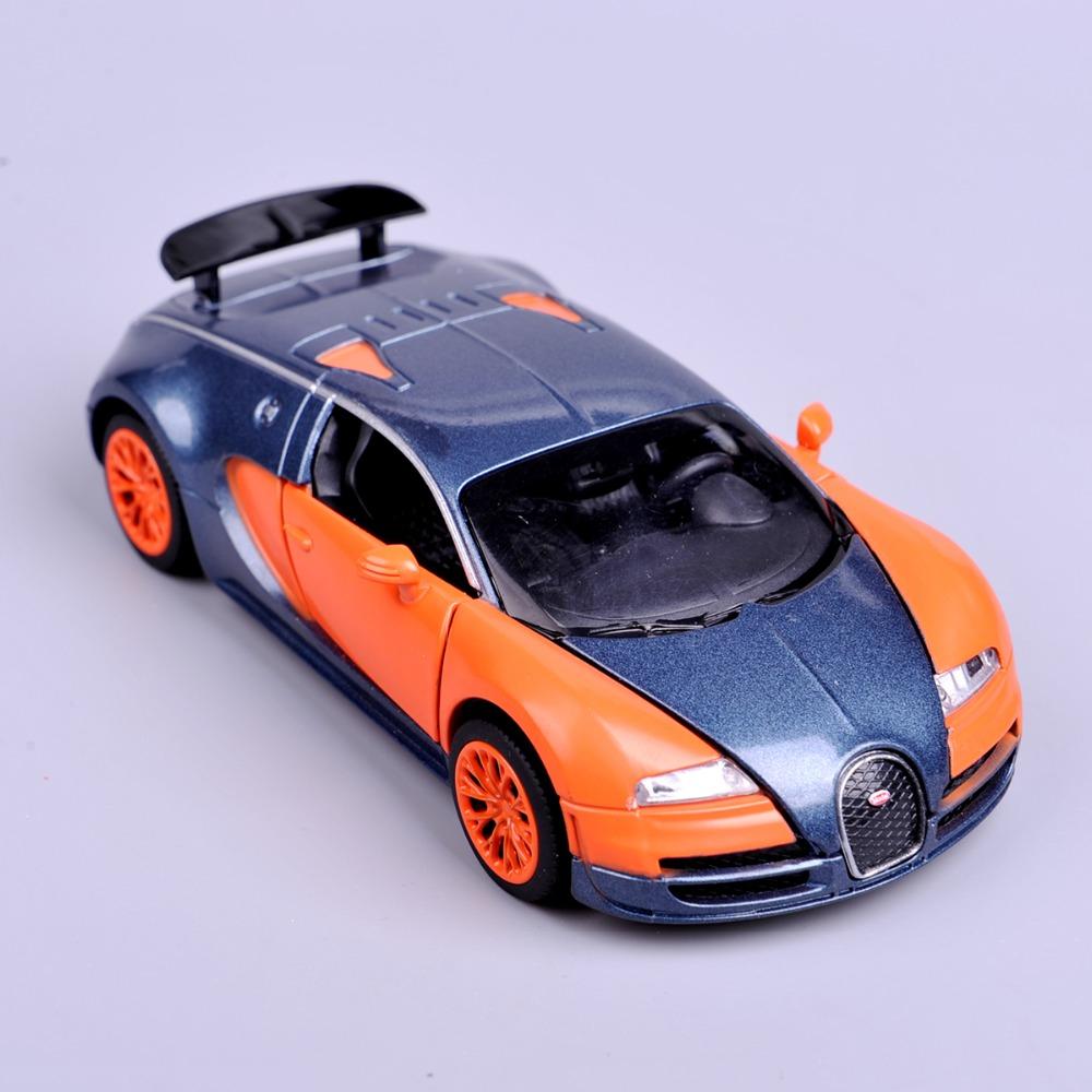 Shop Velocity Toys Diecast Bugatti Veyron Super Sport: Mini Diecast 1:32 Scale Orange Bugatti Veyron Model Cars