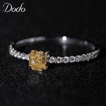 d69f02c5d79d DODO exquisito pequeño cuadrado de Plata de Ley 925 anillo de plata  brillante amarillo AAA Cubic Zirconia anillos para las mujer.