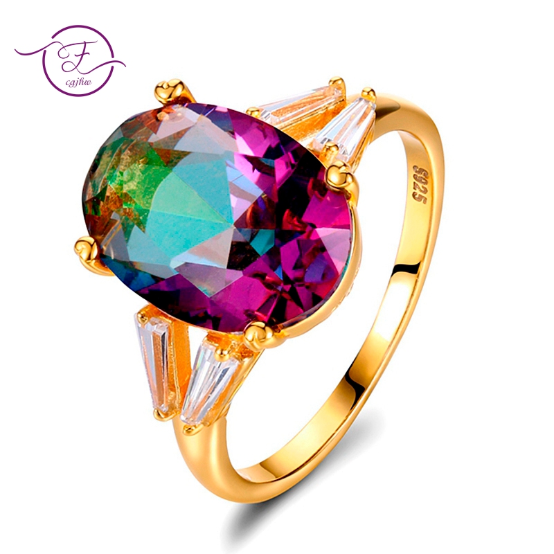 Top Quality Mystery Rainbow Topaz Rings For Women S925 Sterling Silver Jewelry Ring Anniversary Wedding Party Gifts WholesaleTop Quality Mystery Rainbow Topaz Rings For Women S925 Sterling Silver Jewelry Ring Anniversary Wedding Party Gifts Wholesale