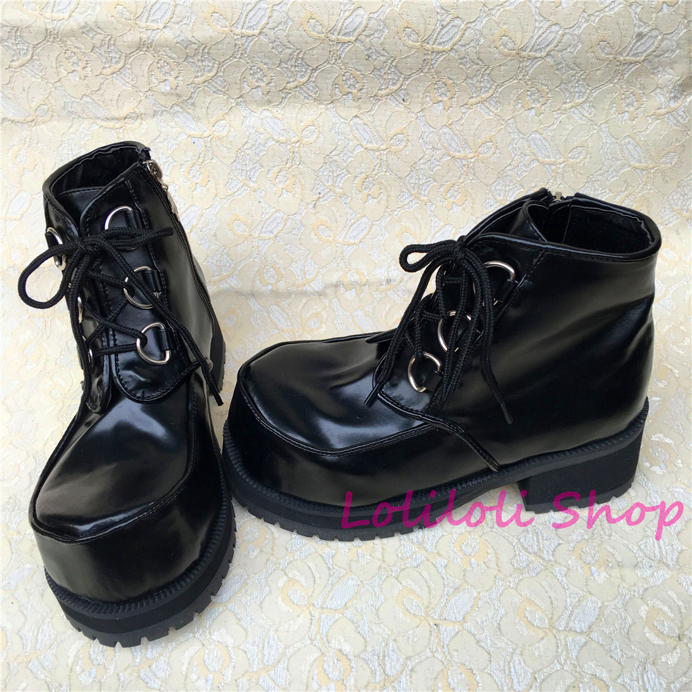 Princess gothic lolita shoes Loliloliyoyo antaina Japanese design shoes custom thick square bottom cross lacing shoes an9101