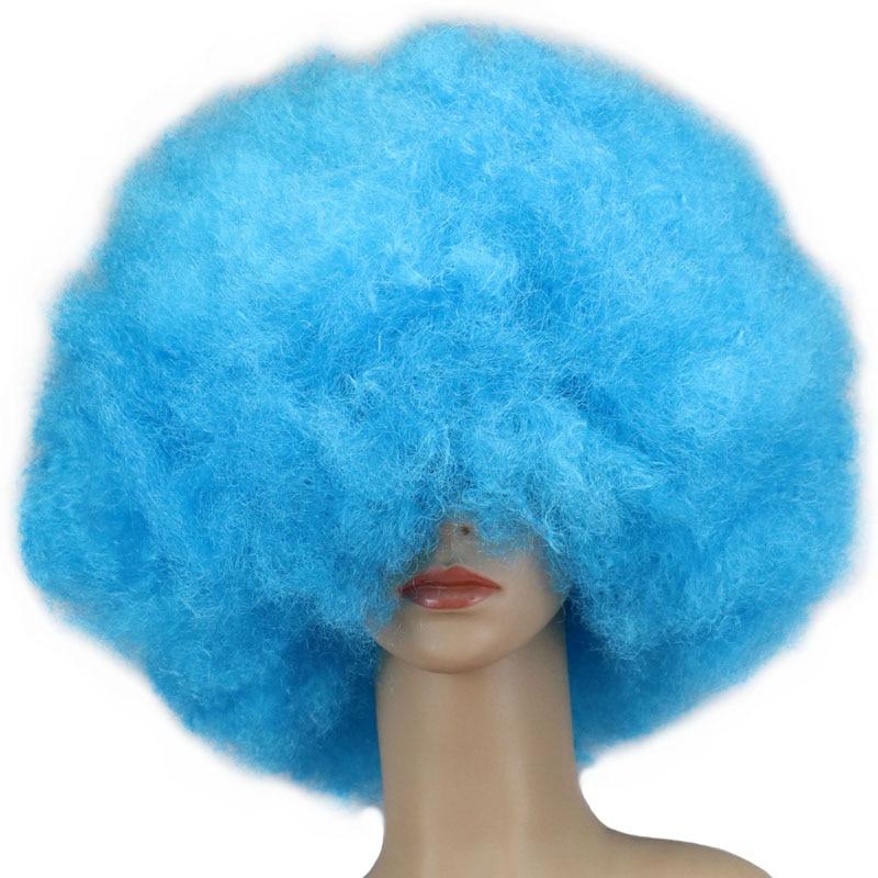 QQXCAIW 200g Super Big Short Culry Men Women Children Cosplay Party Light Blue Dance Afro Wigs