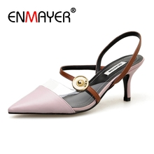 Enmayer Thin Heels  Genuine Leather  Pointed Toe  Heels Women  Womens Shoes  High Heels  Shoes Woman Sandalie Size 34-39 ZYL2730 2017new big size 33 42 genuine leather womens shoes wedges pointed toe high heels women office