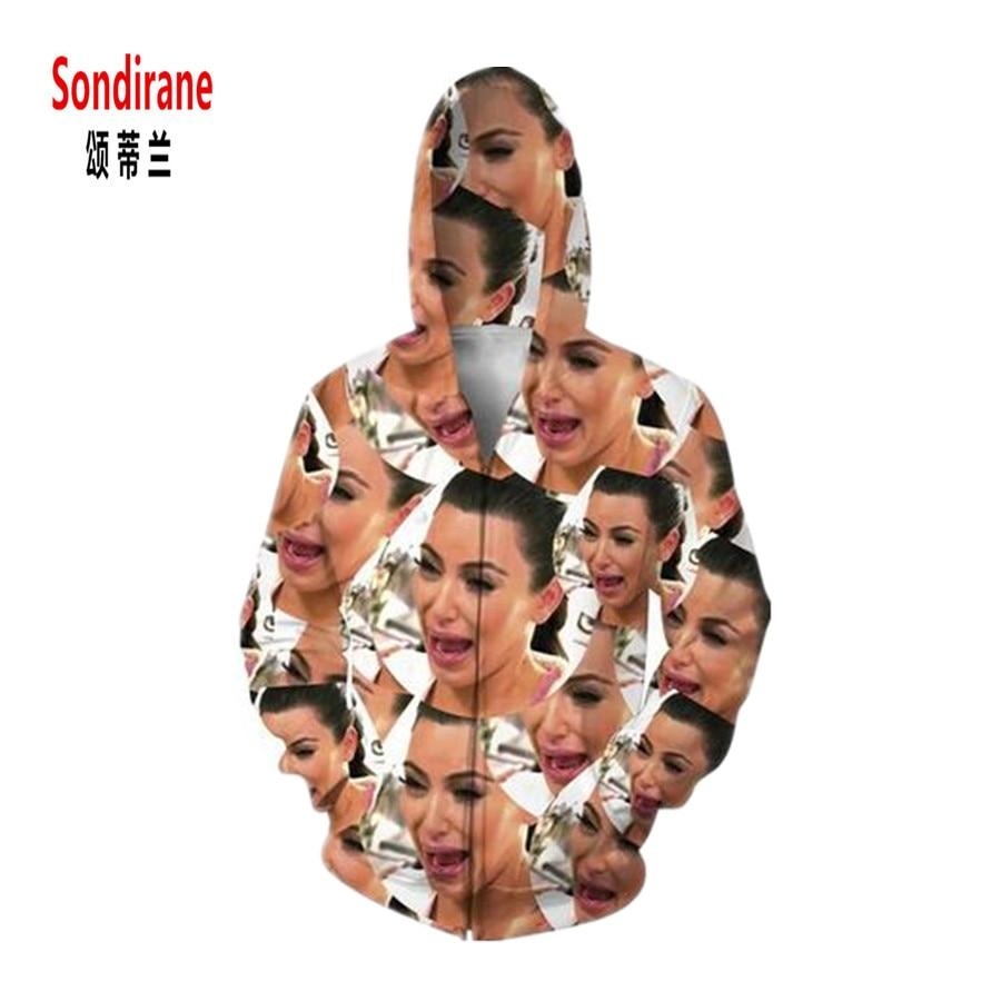 Sondirane Men/Women 3D Print Kim Kardashian Graphic Funny Hoodies Casual Long Sleeve Sweatshirts Design Hip Hop Streetwear Tops