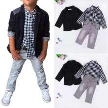 3 sztuk/zestaw letnie dziecko chłopcy sukienka garnitury ubrania dla Gentleman chłopcy dzieci koszule spodnie dzieci garnitur kurtka + koszula w kratę + dżinsy