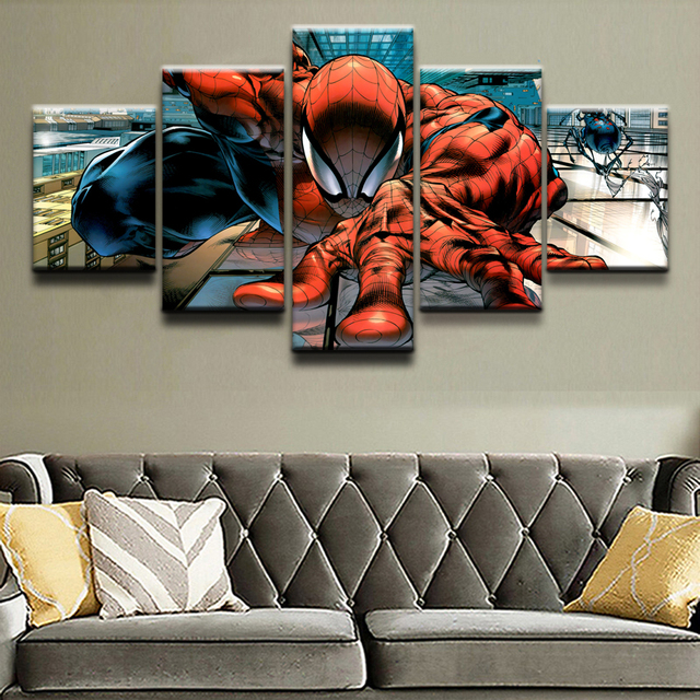 Canvas Paintings Home Decorative Framework Prints 5 Pieces Comics Spider-Man Pictures Modular Poster Children's room Wall Art