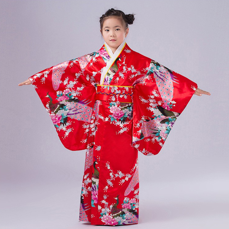 24d24b81a Red Japanese Style Baby Girl Kimono Dress Vintage Children Kid ...