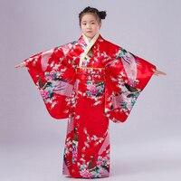 Red Japanese Style Baby Girl Kimono Dress Vintage Children Kid Yukata Performance Dance Dress Child Cosplay Costume BG009