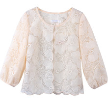 2019 Casual Half Sleeve Sunscreen Blouses Women Solid Loose O-neck Streetwear Lace Shirts Tops Blusas