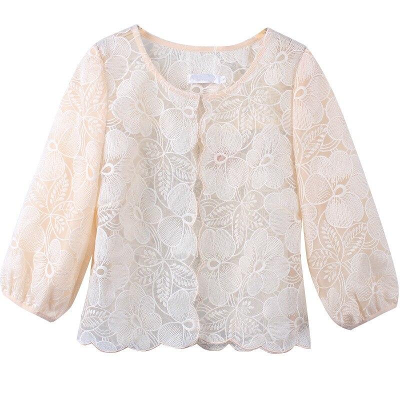 2019 décontracté demi manches crème solaire Blouses femmes solide lâche o-cou Streetwear dentelle dessus de chemise Blusas