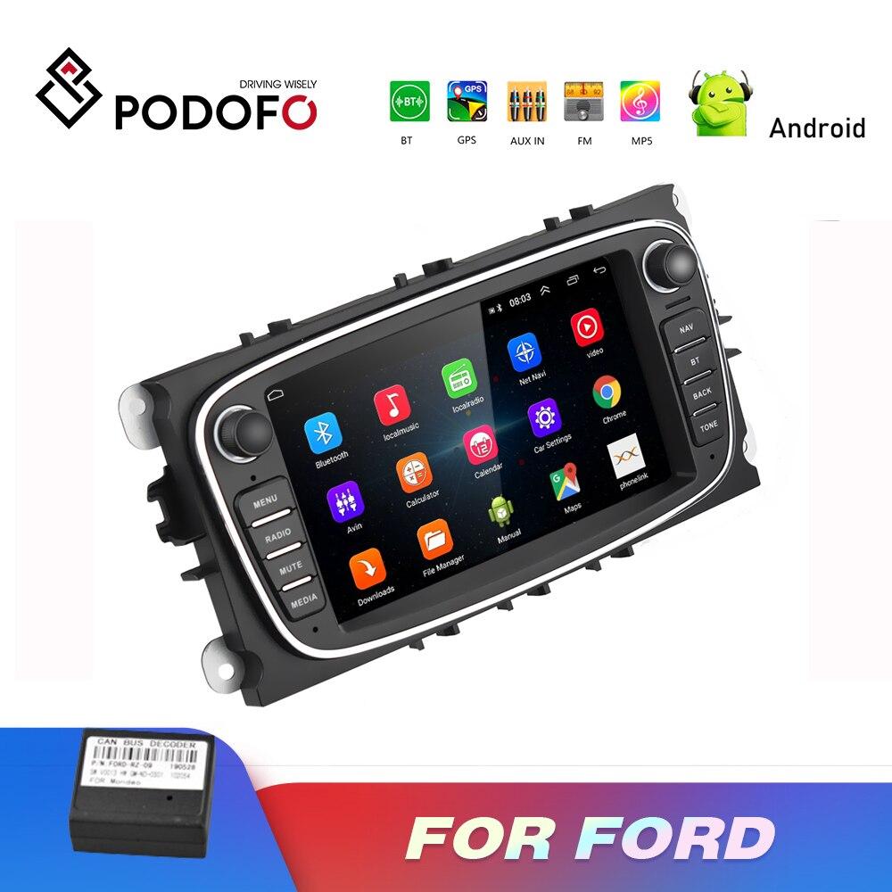 Podofo 2 Din lecteur multimédia de voiture Android 8.1 GPS Autoradio 7 ''lecteur Autoradio Mp5 pour Ford/Focus/s-max/Mondeo 9/galaxy yc-max