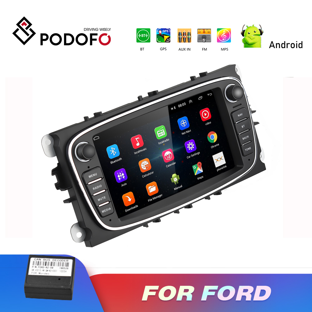 Podofo <font><b>2</b></font> <font><b>Din</b></font> Auto Multimedia player Android 8.1 GPS Autoradio 7 ''Auto Radio Mp5 Player Für Ford/Focus/ s-Max/Mondeo 9/GalaxyC-Max image
