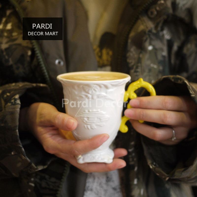 Italy baroque style ceramic mug teacup coffee mug wedding gift art decorations 1pc lot