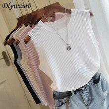 Трикотажные жилеты для женщин, топ с круглым вырезом, одноцветные майки, модные женские повседневные тонкие топы без рукавов, летние вязаные женские рубашки