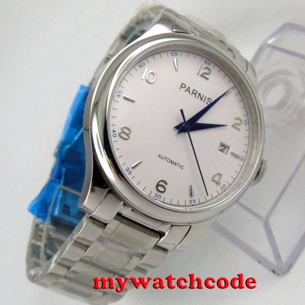 38mm Parnis blanco fecha zafiro cristal miyota automático hombre reloj P723-in Relojes deportivos from Relojes de pulsera    2