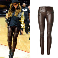 ZYFPGS 2018 Brand New Arrival Women's Pants Leather Brown Trousers Imitation Animal Leather Elastic Fat People Pants Sales Z1209