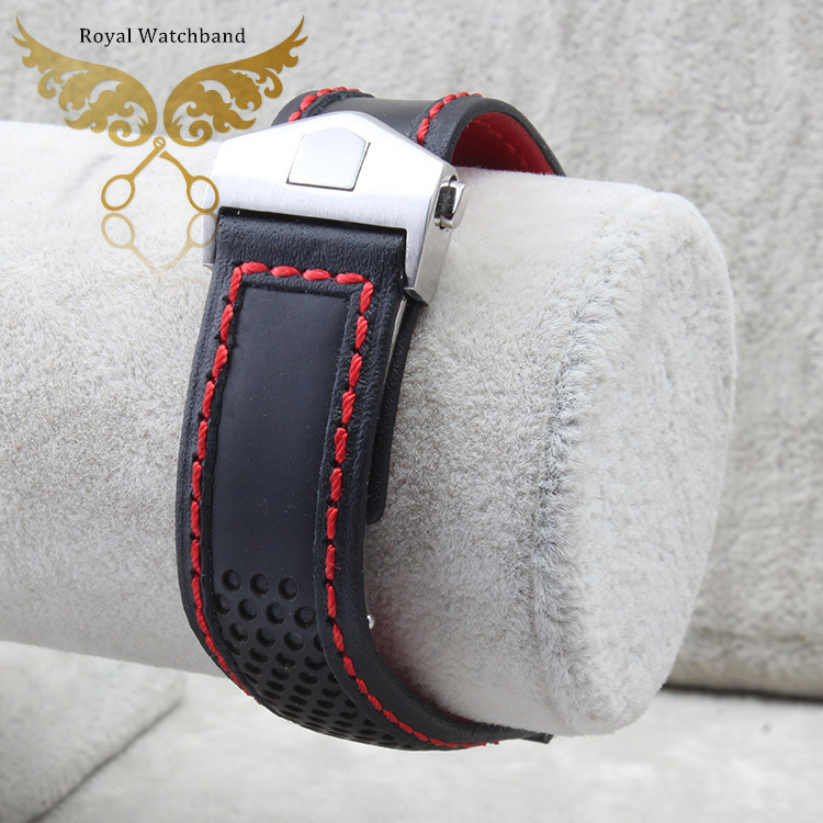 22mm New High Quality Stainless Steel Butterfly Buckle Red Stitched Black Genuine Leather Watch Bands Strap For BRAND