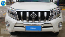 Chrome Front Grill Grille molding Cover Trims 6 pcs For Toyota Land Cruiser Prado FJ150 2014 2015 Without Camera Hole
