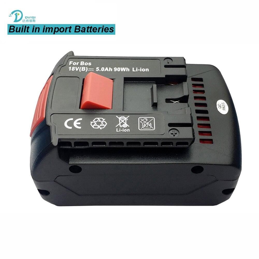 Replaceable High Capacity 18V 5.0Ah Li-ion Extended Drill Battery for Bosch BAT609 BAT609G BAT610G BAT618 BAT618G BAT619 BAT619G 1 pc li ion battery charger for bosch drill 18v 14 4v rechargerable battery charger bat609 bat609g bat618 bat618g t0 16