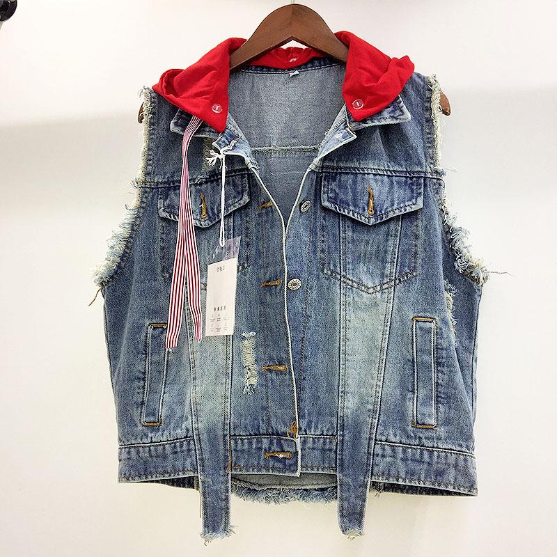 18795557b65 Tout-allumette-Nouvelle-Mode-Cool-Imprim-Denim-Gilet-Femmes -Rubans-Patchwork-Capuchon-Veste-Jeans-Femme-Trou.jpg