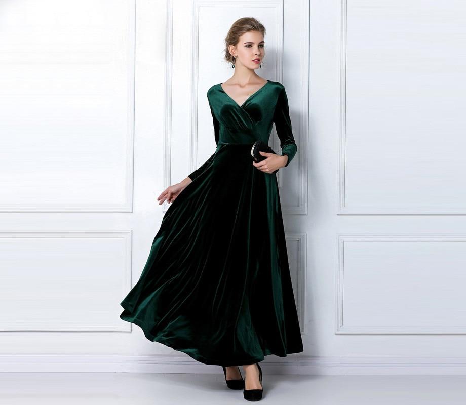 Emerald Long Velvet Party Formal Evening Maxi Dress Gown Plus