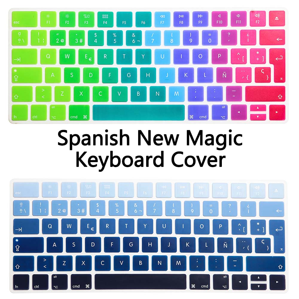 Rainbow Gradient Color Spanish Version New Magic Keyboard Silicone Keyboard Cover for Apple New Magic Keyboard 2 release 2015 цены