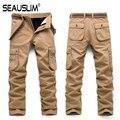 SEAUSLIM Hombres Multi-bolsillos Pantalones Gruesos de Invierno de Alta Calidad Militar Del Ejército de Carga Pantalones de Los Hombres Ocasionales Rectos Pantalones Estilo Q-OCY-2