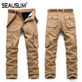 SEAUSLIM Men Multi-Pockets Winter Thick Pants High Quality Cargo Military Army Trousers Men Straight Casual Style Pants Q-OCY-2