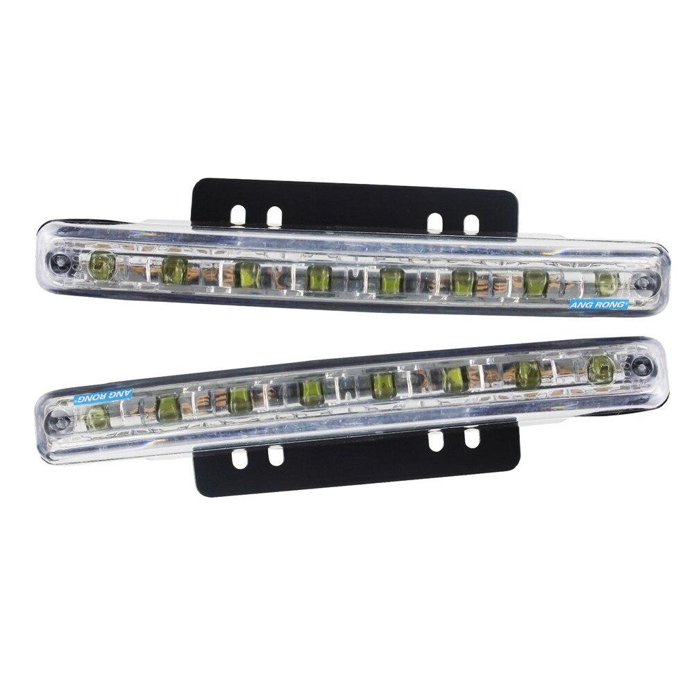 2X 8 LEDS Daytime Running Lights Car Driving DRL Fog Lamp Light Super White 12V
