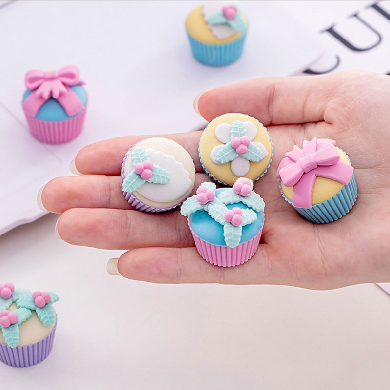 Fancy Dessert Cake Rubber Eraser Gomas De Borrar School Stationery Supplies Erasers For Kids Promotion Borracha Escolar 4pcs/box
