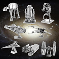 7 pcs/1lot Star Wars 7 Spacecraft warship jigsaw Puzzle toys 2016 New 3D Nano metal DIY Puzzle R2-D2 milenium falcon TIE fighter