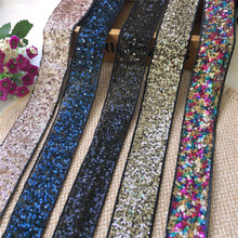 3 Yards/Lot Exquisite Sequins Lace Ribbon Mesh Champagne Fabric Trim Gold Trimmings for Sewing DIY Party Dress