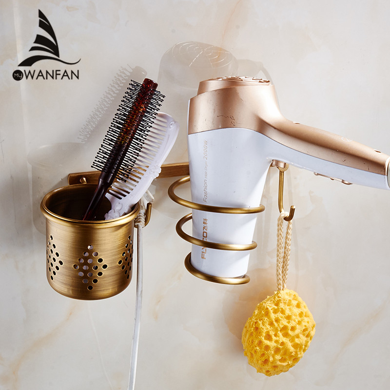 Hair Dryer Holder Antique Brass Hair Blow Dryer Holder Bathroom Shelf Rack Wall Mounted Washroom Accessories Bath Stand ET-300 hair dryer holder antique brass hair blow dryer holder bathroom shelf rack wall mounted washroom accessories bath stand et 300