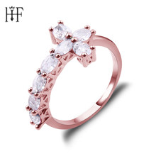 Hot Selling Crucifix Rings Trend Sideways Cross Rose Gold Filled Jewelry Rings Wedding Rings For Women Birthday Stone Gifts(China)