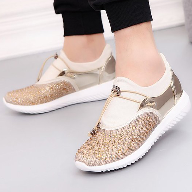 Large size 5.5-12 Women's shoes Patchwork Cyrstal Fashion Shoes woman sneakers Hard-wearing Soft Casual shoes women