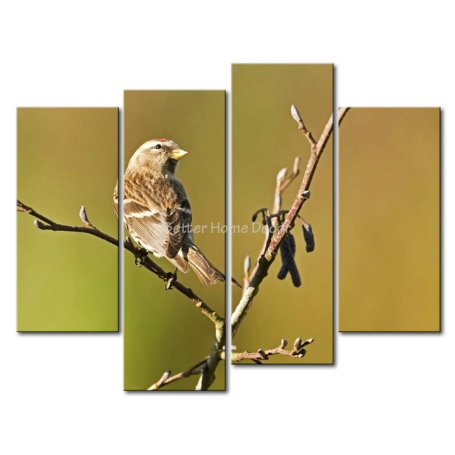 3 Piece Wall Art Painting Sparrow On A Branch Picture Print On ...