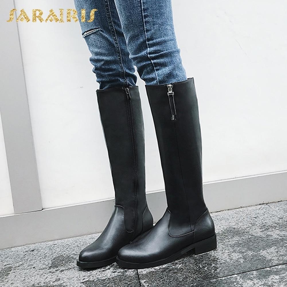 купить SARAIRIS 2018 Cow Leather plus Size 33-43 Shoes Women Platform Winter Fashion Riding Boots Woman Shoes Knee High Boots по цене 3484.87 рублей