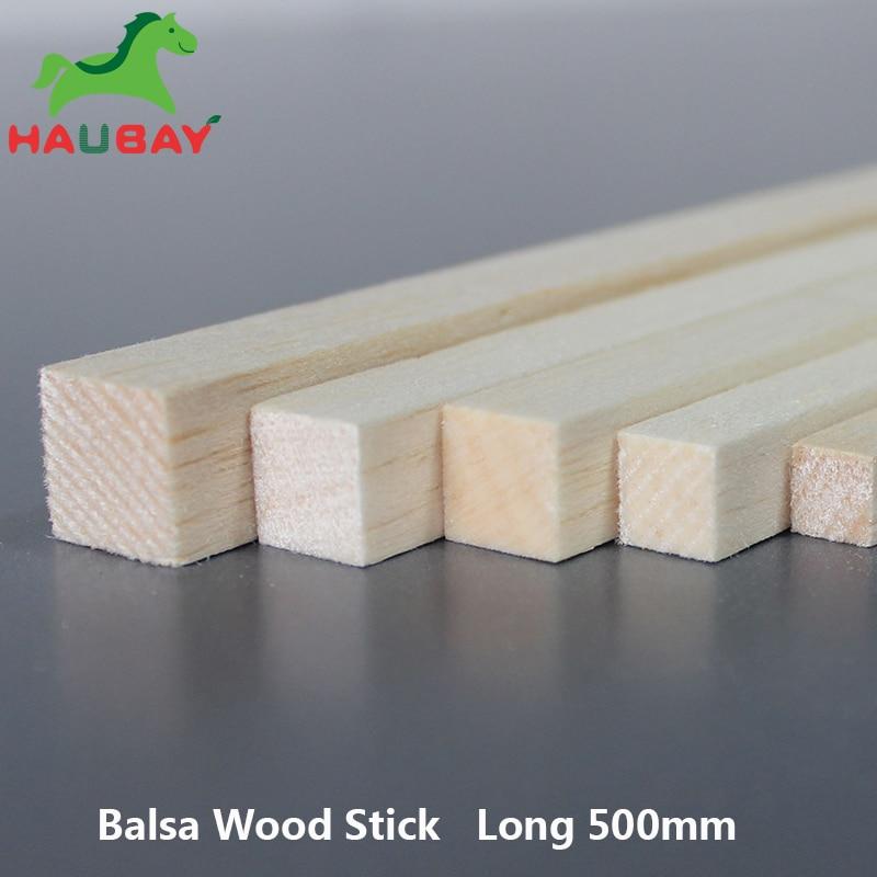 HAUBAY block balsa 500x2x2/3x3/4x4/5x5/6x6/8x8/10x10/12x12